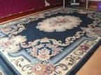BIG CARPET,  Blue and cream patterned carpet,  fairly good....